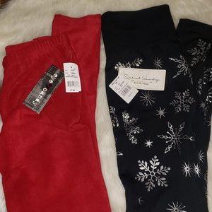 2 Pairs Fleece Leggings, S/M  Red & Black